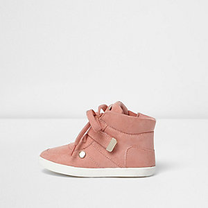 Mini girls pink hi top trainers