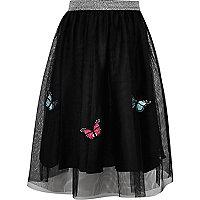 Girls black mesh butterfly midi skirt