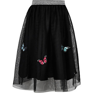Girls black mesh butterfly midi skirt