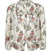 Girls cream floral ruffle blouse