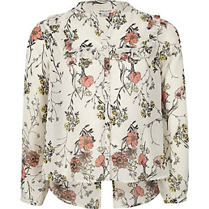Girls cream floral ruffle blouse