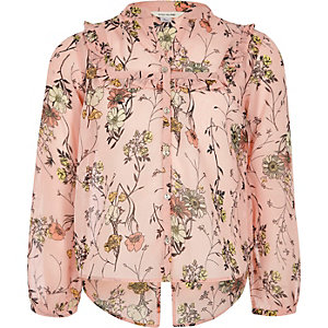 Girls pink floral ruffle blouse