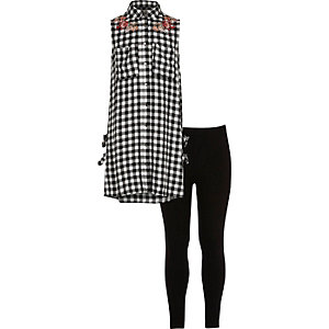 Girls black gingham shirt and leggings set