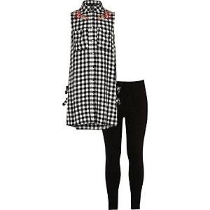 Girls black gingham shirt and leggings set
