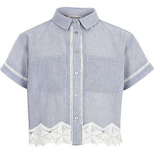 Blauw chambray overhemd met gehaakte zoom voor meisjes