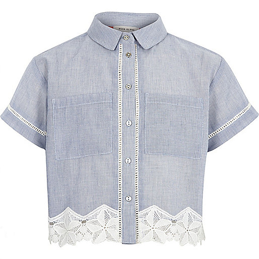 Girls blue chambray crochet hem shirt