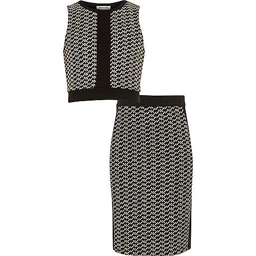 Girls metallic black crop top and skirt set