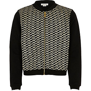 Girls black metallic bomber jacket