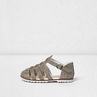 Mini girls gold metallic sandals