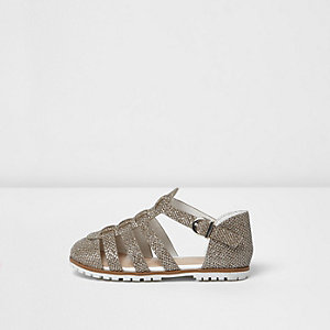Mini girls gold metallic sandals
