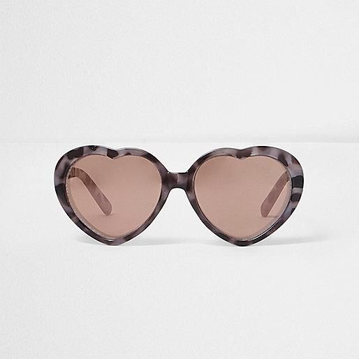 Mini girls brown heart shaped sunglasses