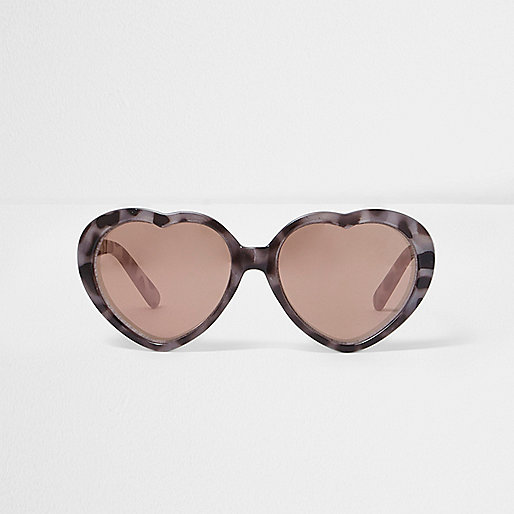 Mini girls brown heart shaped sunglasses