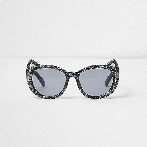 Mini girls black glitter kitty sunglasses