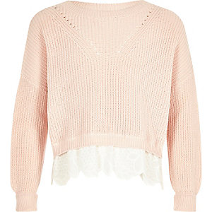 Girls pink lace hem knit jumper