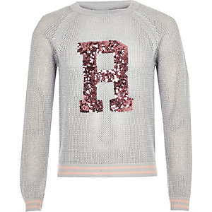 Girls grey sequin knit jumper