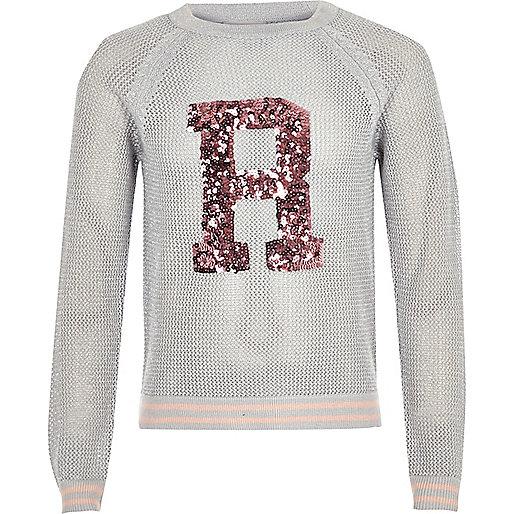 Girls grey sequin knit sweater