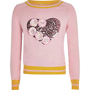 Girls pink knit sequin flower jumper