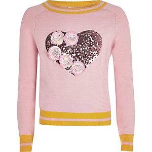 Pull en maille rose motif à fleurs et sequins pour fille