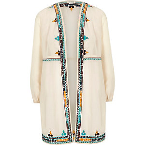 Girls cream embroidered duster coat