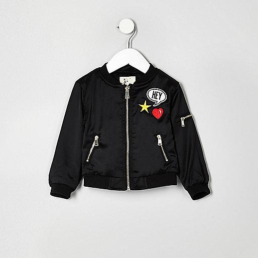 Mini girls black badge bomber jacket