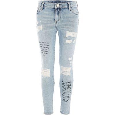 Amelie Blauwe skinny jeans met quote-print voor meisjes