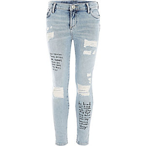 Amelie - Blauwe skinny jeans met quote-print voor meisjes
