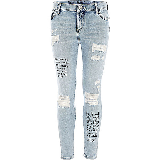 Girls blue quote print Amelie skinny jeans