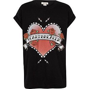 Girls black heartbreaker print T-shirt
