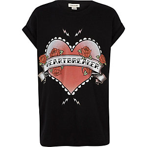 Girls black heartbreaker print T-shirt
