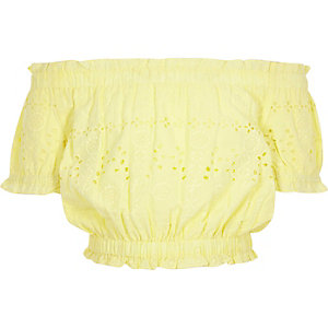 Girls yellow bardot broderie crop top