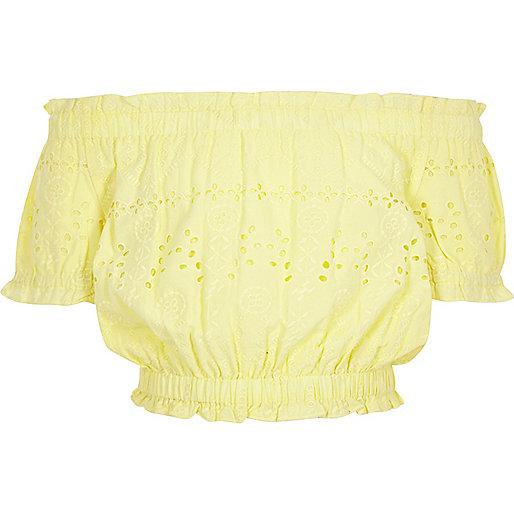 Girls yellow bardot broderie crop top