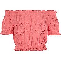 Girls pink bardot broderie crop top