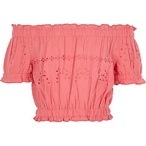 Girls pink bardot broderie crop top