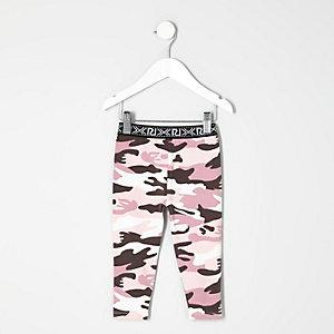 Legging imprimé camouflage rose mini fille