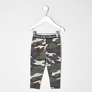 Mini girls green camo print leggings