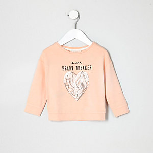 Mini girls peach heartbreaker sequin sweater