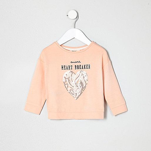 Mini girls peach heartbreaker sequin jumper