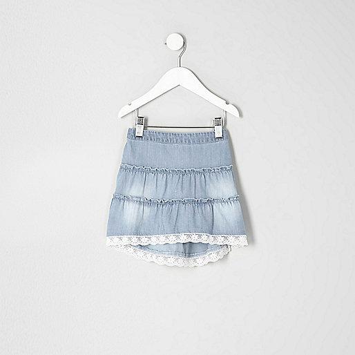 Mini girls blue tiered lace trim denim skirt