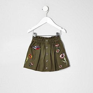 Mini girls khaki green floral badge skirt