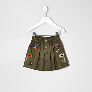 Mini girls khaki green floral badge skirt