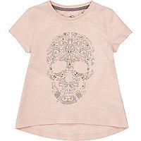 Mini girls pink embellished skull T-shirt