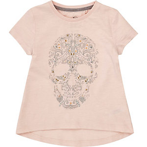 Mini girls pink embellished skull T-shirt