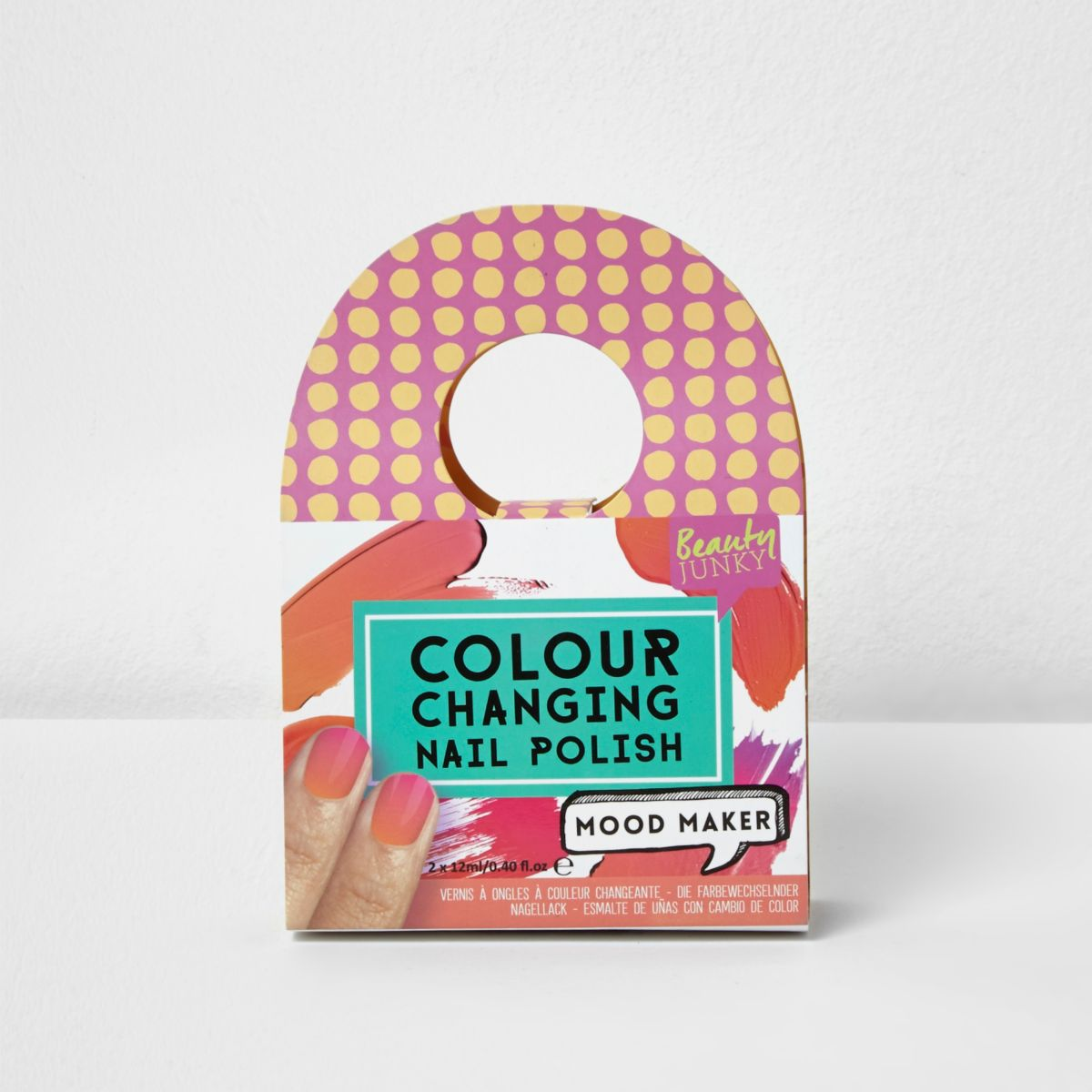 Girls pink colour changing nail polish