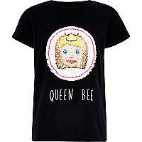 Girls black 'queen bee' T-shirt