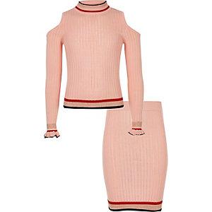 Ensemble jupe et pull en maille rose à volant pour fille