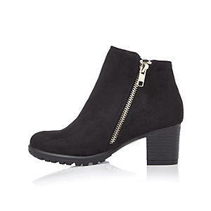 Girls black side zip ankle boots