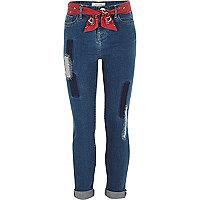 Girls blue bandana Amelie skinny jeans