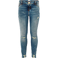 Girls blue ripped paint Molly jeggings
