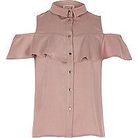 Blush pink cold shoulder frill shirt