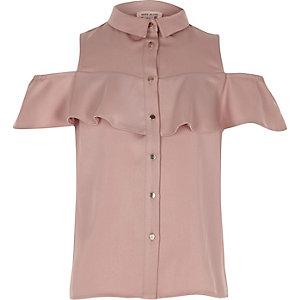 Oudroze schouderloos overhemd met ruches
